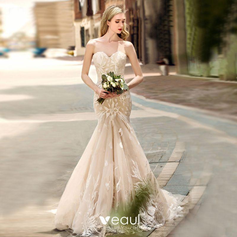 Trumpet Wedding Dresses 2019: Charming Champagne Wedding Dresses 2019 Trumpet / Mermaid