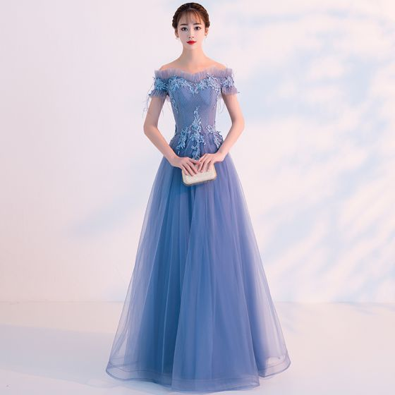Chic / Beautiful Sky Blue Evening Dresses  2019 A-Line / Princess Off-The-Shoulder Beading Pearl Lace Flower Short Sleeve Backless Floor-Length / Long Formal Dresses