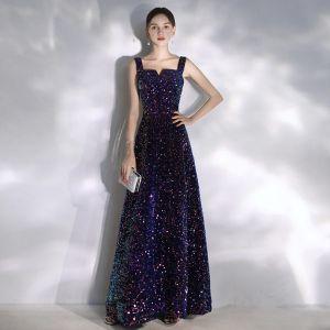 Glitzernden Violett Sternenklarer Himmel Abendkleider 2020 A Linie Eckiger Ausschnitt Perlenstickerei Pailletten Ärmellos Rückenfreies Lange Festliche Kleider