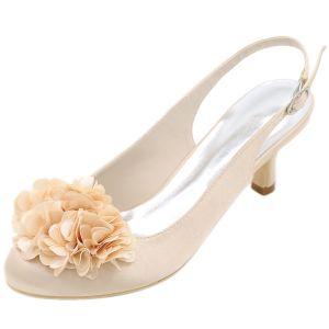 Elegant Champagne Prom Womens Shoes 2020 Satin Appliques 6 cm Stiletto Heels Round Toe Heels