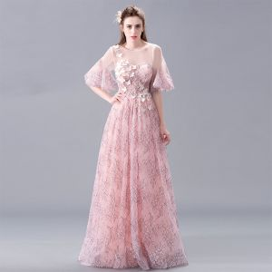 Elegante Rosa Spitze Abendkleider 2017 A Linie Rundhalsausschnitt 1/2 Ärmel Applikationen Blumen Perle Lange Rückenfreies Durchbohrt Festliche Kleider