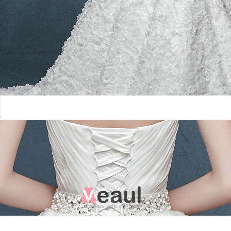 2015 Büstenhalter-art Blumen Taille Big Meter Schwanger Braut Brautkleid
