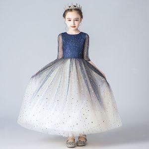 Schöne Marineblau Farbverlauf Blumenmädchenkleider 2020 A Linie Eckiger Ausschnitt 1/2 Ärmel Star Glanz Pailletten Knöchellänge Rüschen Kleider Für Hochzeit