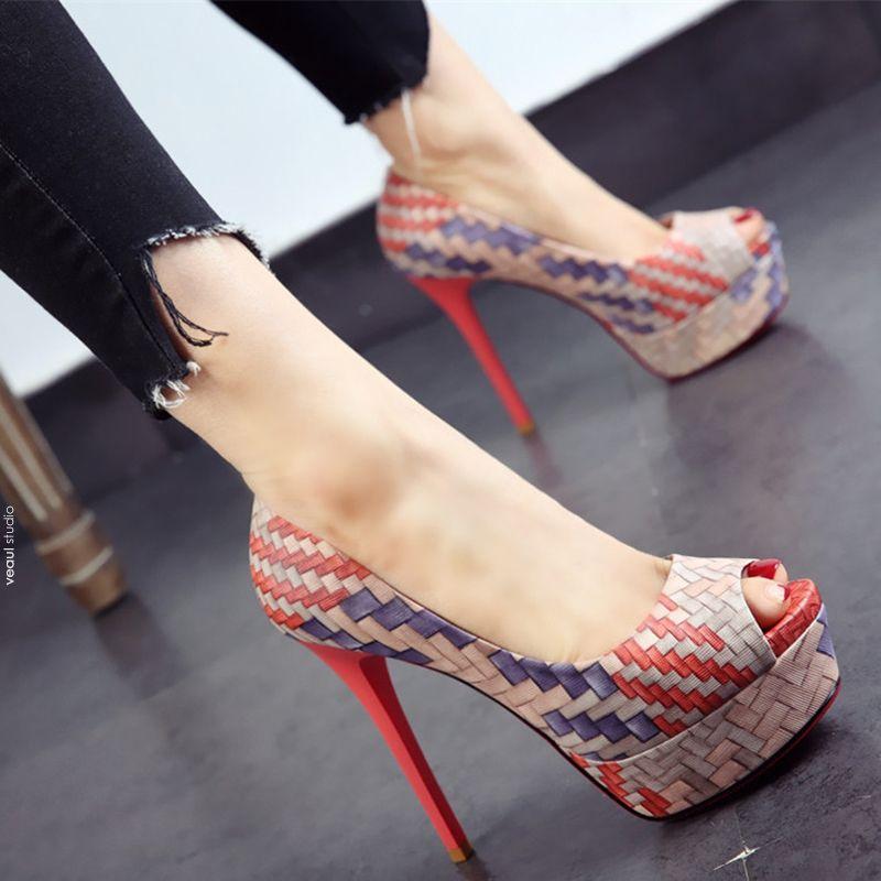 Modern / Fashion 2017 Multi-Colors Prom PU Fall High Heels Stiletto Heels 10 cm / 4 inch Pumps Pumps