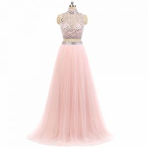 Sparkly 2 Piece Candy Pink Prom Dresses 2017 A-Line / Princess High Neck Sleeveless Beading Rhinestone Tulle Formal Dresses Sweep Train