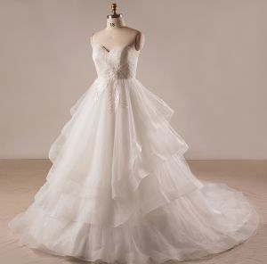 Chic / Beautiful Plus Size Ivory Wedding Dresses A-Line / Princess Strapless 2018 Crossed Straps Appliques Backless Beading Tulle