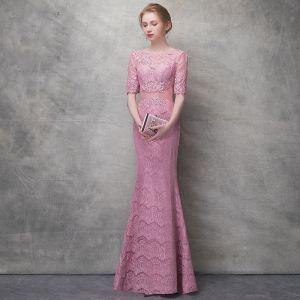 Schöne Pink Abendkleider 2017 Mermaid Mit Spitze Pailletten Durchbohrt Rundhalsausschnitt 1/2 Ärmel Knöchellänge Festliche Kleider
