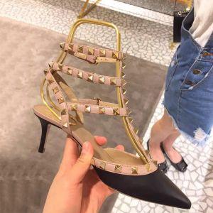 Sexy Svart Gateklær Lær Sandaler Dame 2020 Klinke 6 cm Stiletthæler Spisse Sandaler