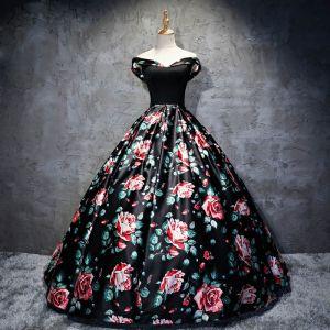 Chic / Belle Noire Robe De Bal 2017 Princesse Bustier Dos Nu Impression Soirée Robe De Soirée