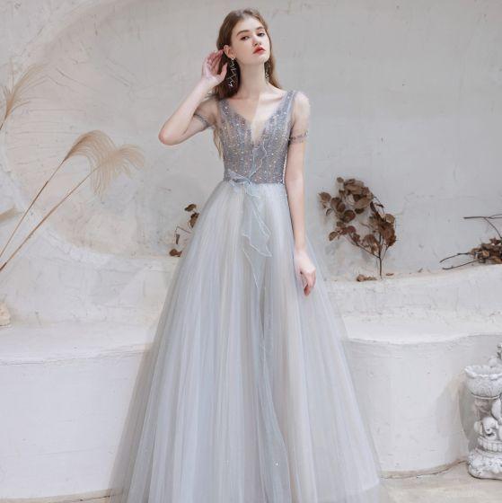 Moda Szary Sukienki Wieczorowe 2021 Princessa V-Szyja Frezowanie Rhinestone Cekiny Kótkie Rękawy Bez Pleców Długie Sukienki Wizytowe