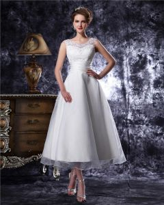 Round Neck Beading Tea Length Organza Mini Wedding Dress
