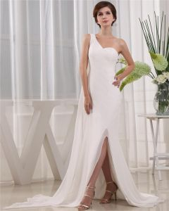 One Shoulder Sleeveless Zipper Floor Length Beading Chiffon Woman Prom Dress