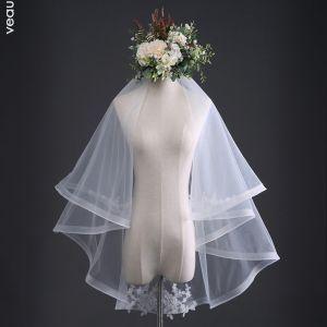 Enkla Vita Bröllop Spets Tyll Broderade Handgjort 1 m Korta Brudslöja 2019