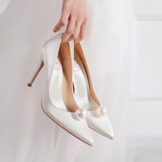Chic Ivoire Perle Chaussure De Mariée 2020 Cuir 10 cm Talons Aiguilles À Bout Pointu Mariage Escarpins