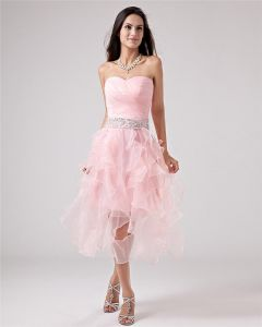 Taffeta Yarn Halter Applique Tea Length Prom Cocktail Dresses