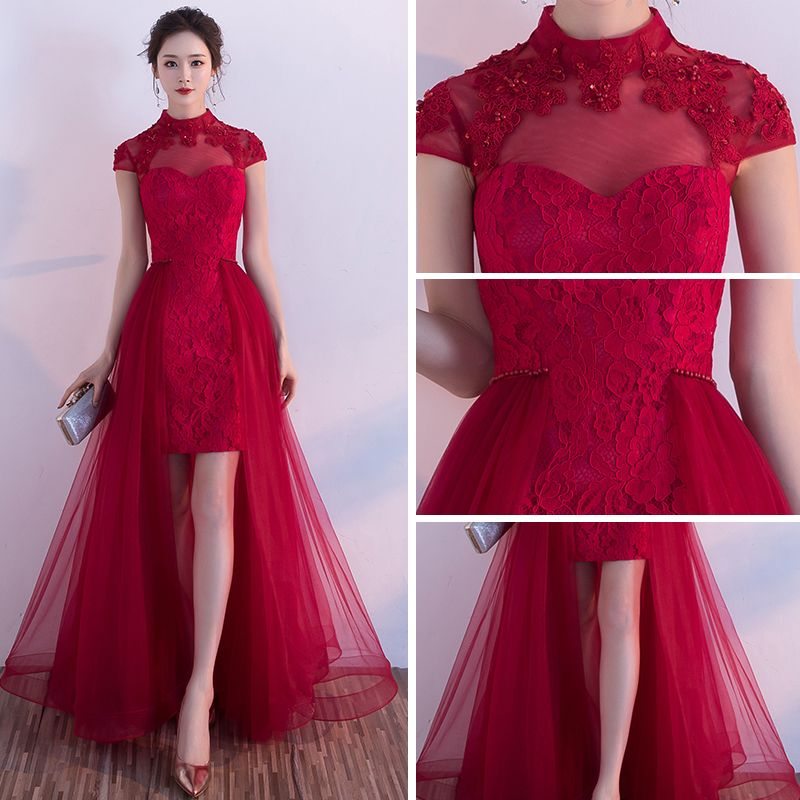 Chinese style Hall Formal Dresses 2017 Party Dresses Burgundy A-Line / Princess Asymmetrical High Neck Short Sleeve Backless Lace Appliques Pearl Sequins