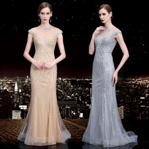 High-end See-through Evening Dresses  2020 Trumpet / Mermaid Scoop Neck Sleeveless Beading Sequins Rhinestone Sweep Train Ruffle Formal Dresses