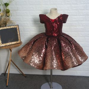 Fancy Burgundy Sequins Birthday Flower Girl Dresses 2020 Ball Gown Off-The-Shoulder Short Sleeve Short Backless Wedding Party Dresses
