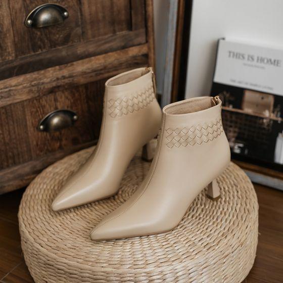 Vintage Caer Casual Ropa de calle Nude Botas de mujer 2020 Cuero 6 cm Stilettos / Tacones De Aguja Punta Estrecha Botas
