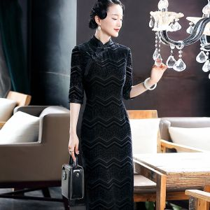 Chinese style Black Suede Cheongsam / Qipao 2020 Sheath / Fit High Neck 3/4 Sleeve Tea-length Formal Dresses