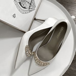 Charming White Rhinestone Wedding Shoes 2020 Leather 10 cm Stiletto Heels Pointed Toe Wedding Pumps