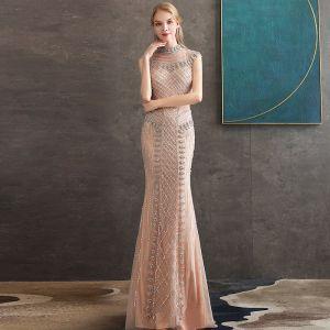 High-end Champagne See-through Evening Dresses  2020 Trumpet / Mermaid High Neck Sleeveless Beading Floor-Length / Long Formal Dresses