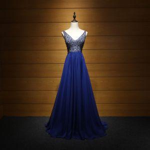 Luxe Bleu Roi Robe De Soirée 2017 Princesse V-Cou Sans Manches Perlage Perle Faux Diamant Train De Balayage Volants Dos Nu Robe De Ceremonie