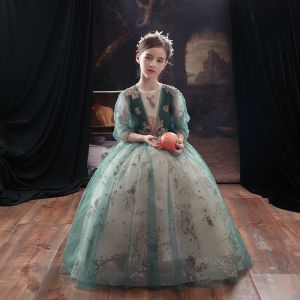 Victorian Style Green Flower Girl Dresses 2020 A-Line / Princess Scoop Neck Puffy 3/4 Sleeve Beading Glitter Tulle Floor-Length / Long Ruffle