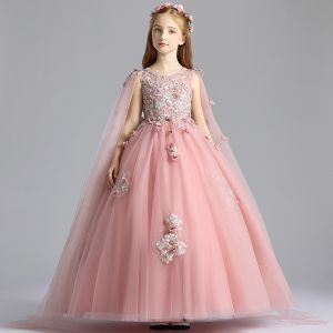 Flower Fairy Pearl Pink See-through Birthday Flower Girl Dresses 2020 Ball Gown Scoop Neck Sleeveless Appliques Flower Beading Pearl Watteau Train Ruffle