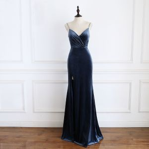 Elegant Navy Blue Evening Dresses  2020 Trumpet / Mermaid Spaghetti Straps Sleeveless Split Front Floor-Length / Long Backless Formal Dresses