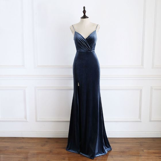 Elegant Navy Blue Evening Dresses  2020 Trumpet / Mermaid Spaghetti Straps Sleeveless Split Front Floor-Length / Long Backless Formal Dresses