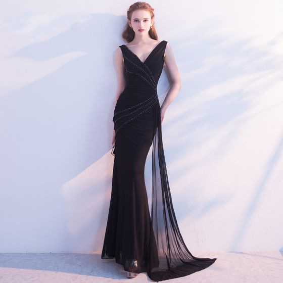 Chic / Beautiful 2017 Black Evening Dresses  V-Neck Backless Handmade  Trumpet / Mermaid Homecoming Evening Party Formal Dresses