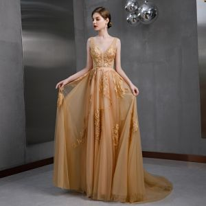 Sexy Gold Evening Dresses  2020 A-Line / Princess See-through Deep V-Neck Sleeveless Appliques Lace Beading Sweep Train Ruffle Backless Formal Dresses