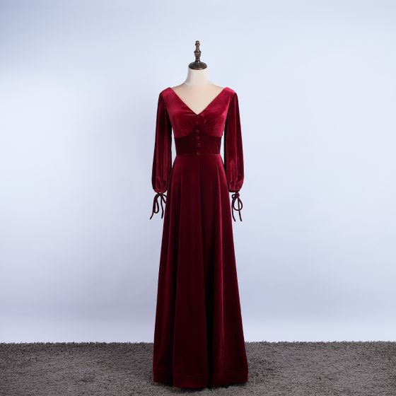 Elegant Burgundy Prom Dresses 2020 A-Line / Princess Suede V-Neck Long Sleeve Backless Floor-Length / Long Formal Dresses