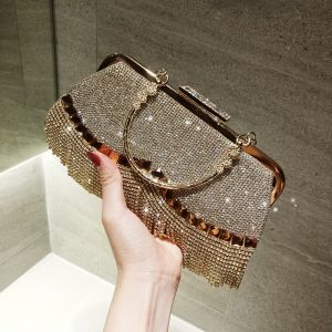 Sparkly Gold Rhinestone Tassel Square Clutch Bags 2020 Metal Accessories