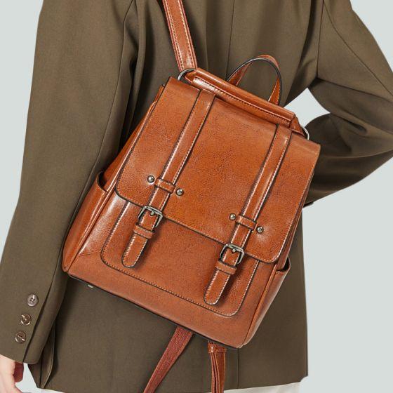 Tan Quadratische Schulranzen Rucksäcke 2021 Leder Freizeit Damentaschen