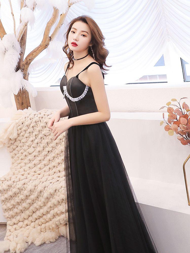 Abordable Noire Robe De Soirée 2019 Princesse épaules Sans Manches Longue Volants Dos Nu Robe De Ceremonie