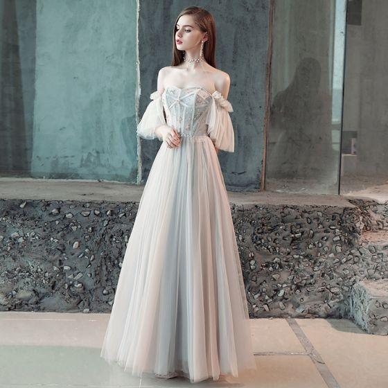 Elegant Grey Evening Dresses  2018 A-Line / Princess Pleated Beading Crystal Off-The-Shoulder Backless Short Sleeve Floor-Length / Long Formal Dresses