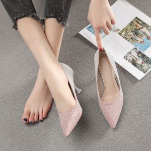 Lovely Gradient-Color Blushing Pink Wedding Shoes 2020 Sequins 7 cm Stiletto Heels Pointed Toe Wedding Pumps