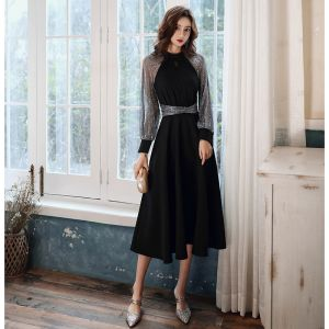 Victorian Style Black Homecoming Graduation Dresses 2020 A-Line / Princess High Neck Puffy Long Sleeve Star Sequins Sash Tea-length Ruffle Formal Dresses