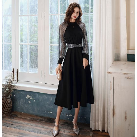 Victorian Style Black Homecoming Graduation Dresses 2020 A-Line / Princess High Neck Puffy Long Sleeve Star Sequins Sash Tea-length Ruffle Formal Dresses