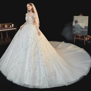 Luxury / Gorgeous White Bridal Wedding Dresses 2020 Ball Gown See-through Scoop Neck Short Sleeve Backless Sequins Beading Glitter Tulle Cathedral Train Ruffle