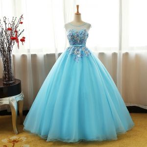 Chic / Beautiful Pool Blue Prom Dresses 2017 Ball Gown Crystal Scoop Neck Sleeveless Appliques Flower Bow Sash Floor-Length / Long Ruffle Pierced Backless Formal Dresses