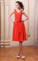 Chiffon V Neck Sleeveless Bowtie Sash Knee Length Bridesmaid Dresses