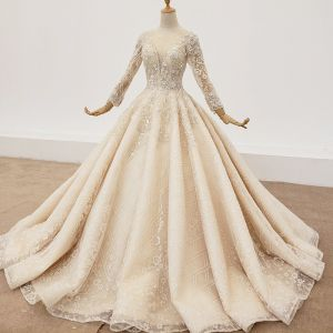 Eye-catching High-end Champagne Ball Gown Wedding Dresses 2020 3D Lace Long Sleeve V-Neck Handmade  Appliques Backless Beading Crystal Pearl Sequins Cathedral Train Bridal Wedding