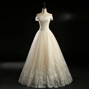 Classic Champagne Wedding Dresses 2018 A-Line / Princess Off-The-Shoulder Short Sleeve Backless Appliques Lace Glitter Tulle Sequins Beading Floor-Length / Long Ruffle