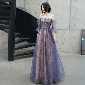 Mode Violett Abendkleider 2020 A Linie Spaghettiträger Perlenstickerei Pailletten Spitze Blumen Kurze Ärmel Rückenfreies Lange Festliche Kleider