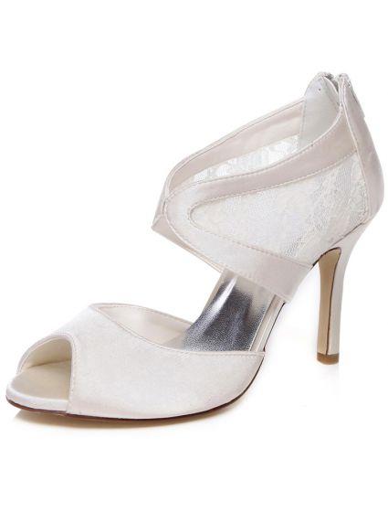 Belles Sandales De Mariée En Satin 9 cm Talons Aiguilles Chaussures De  Mariage Peep Toe Talon Haut 11602f0a474