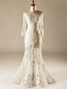 2015 A-line Square Neckline Pierced Lace Flowers Beach Wedding Dresses