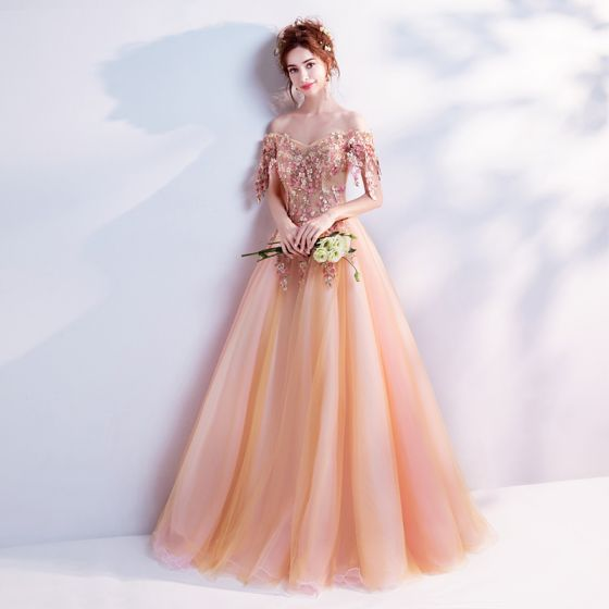 Flower Fairy Orange Prom Dresses 2017 Prom Tulle Appliques Backless Beading Embroidered Formal Dresses